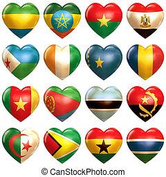 africano, corações