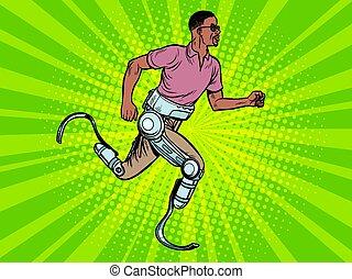 africano, corriente, hombre incapacitado, prótesis, piernas