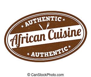 africano, cozinha, selo