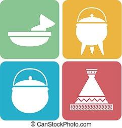 africano, cozinhar, ilustração, ícones