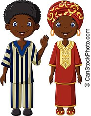 africano, crianças, com, traje tradicional