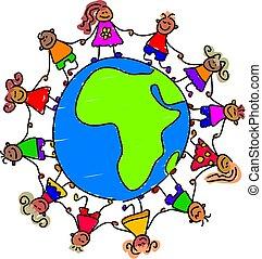africano, crianças