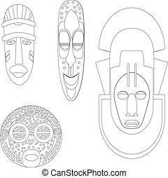 africano, cultural, máscaras