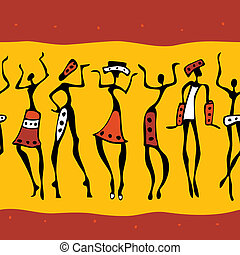 africano, dançarinos, silhouette.