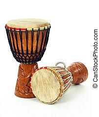 africano, djembe, tambores, dos
