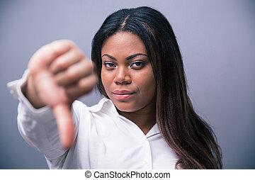 africano, donna d'affari, showung, pollice, giù