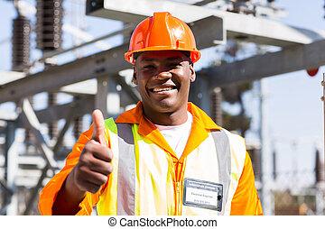 africano, electricista, arriba, pulgar