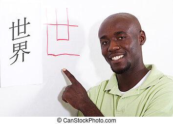 africano, estudante, aprendizagem, chinês