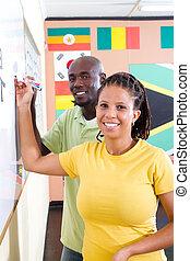 africano, estudantes, aprendizagem, chinês