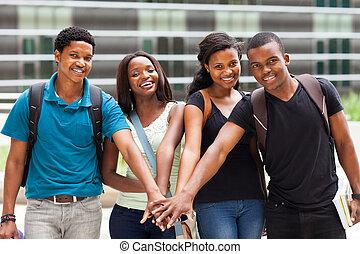 africano, estudantes, faculdade, grupo