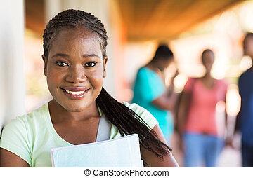 africano, estudiante de la universidad, cicatrizarse, retrato