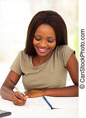 africano, estudiante universitario, estudiar