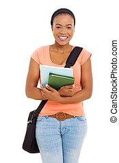 africano, estudiante universitario, estudio, retrato