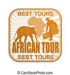 africano, excursão, selo