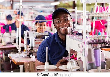 africano, fabbrica tessile, lavoratore