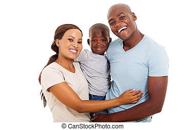 africano, familia , de, tres