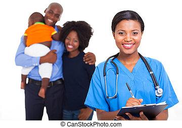 africano feminino, americano, enfermeira, com, família, pacientes