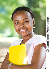 africano feminino, americano, estudante