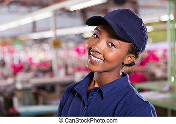 africano femmina, lavoratore tessile, primo piano