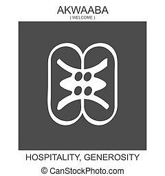 africano, generosidad, símbolo, hospitalidad, akwaaba., icono, adinkra