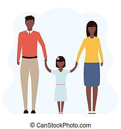 africano, giovane famiglia, insieme, standing