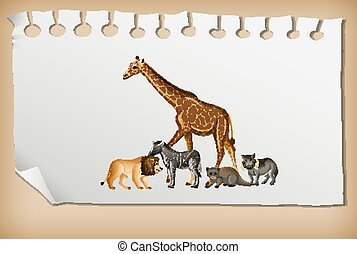 africano, gruppo, selvatico, carta, animale