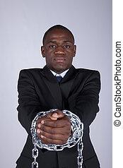 africano, hombre de negocios, detenido