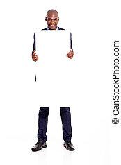 africano, hombre de negocios, panel blanco