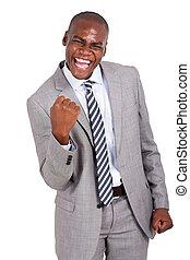 africano, hombre de negocios, tenencia, puños