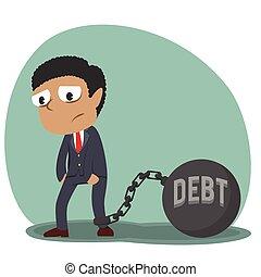 africano, homem negócios, amarrada, com, dívida, ferro, bola