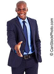 africano, homem negócios, aperto mão
