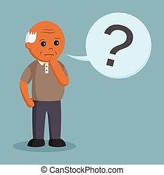 africano, homem velho, com, marca, pergunta