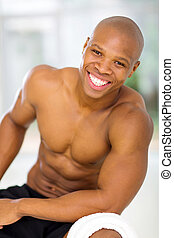 africano, jovem, ajustar, homem