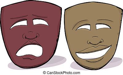africano, máscaras drama