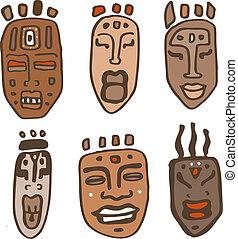 africano, máscaras, set., vetorial, ilustração