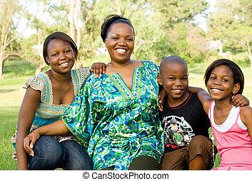 africano, mãe, com, crianças