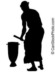 africano, músicos, con, tambores