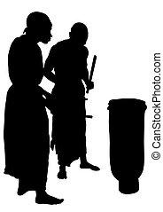 africano, músicos, uno