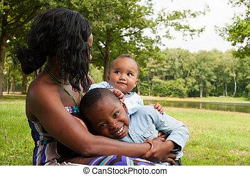 africano, madre, y, ella, niños