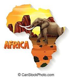 africano, mappa, animale, selvatico