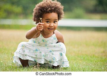 africano, menina, com, um, flor