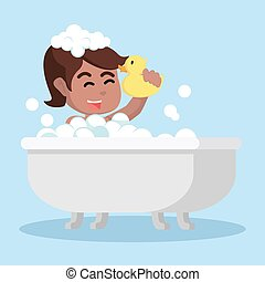 africano, menina, em, banheira, segurando, um, pato brinquedo