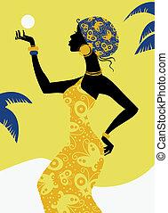 africano, menina, silueta
