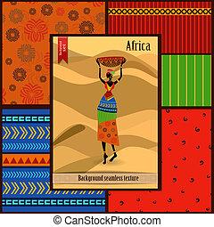 africano, menina, vestido, em, um, decorativo