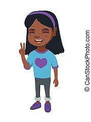 africano, menininha, mostrando, vitória, gesture.