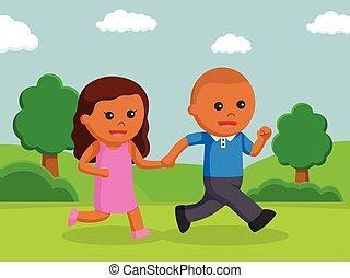 africano, menino, e, africano, menina, andar, em, um, parque