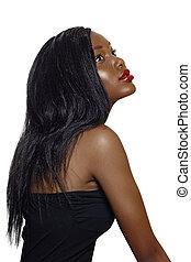 africano, mulher bonita, com, longo, hair.