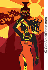 africano, mulher bonita, em, pôr do sol