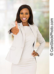 africano, mulher negócio, dar, polegar cima