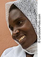 africano, musulmano, donna